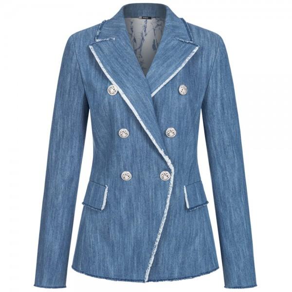 Blazer DENIM im Jeans-Style mit Fransenbesatz