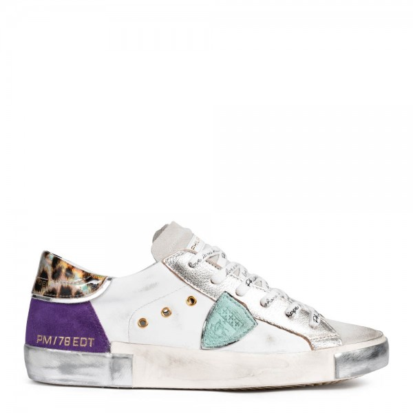 Sneaker FANCY POP BLANC VIOLET aus Leder