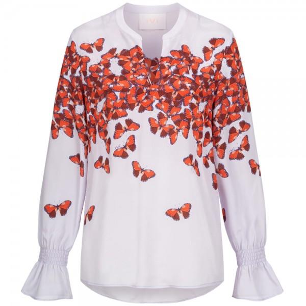 Bluse LEVITA mit Schmetterlingsprint und Seidenanteil