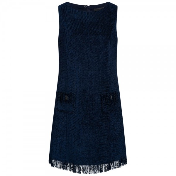Boucle-Kleid mit gefransten Abschlüssen